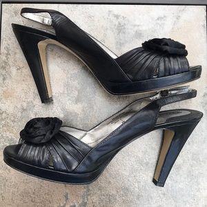 Super Cute Bandolino Black Rosette Slingback Shoes
